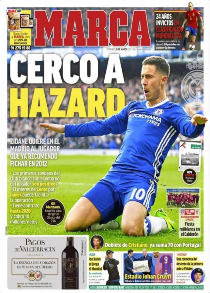 Hazard trên báo Tây Ban Nha