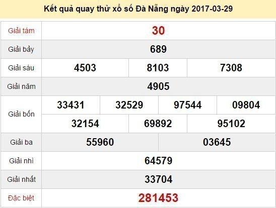 Quay thử KQ XSDNG 29/3/2017