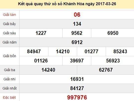 Quay thử KQ XSKH 26/3/2017