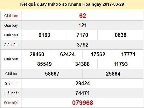 Quay thử KQ XSKH 29/3/2017