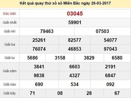 Quay thử KQ XSMB 26/3/2017