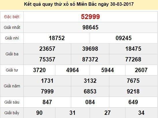 Quay thử KQ XSMB 30/3/2017