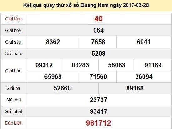 Quay thử KQ XSQNM 28/3/2017