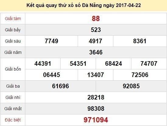 Quay thử KQ XSDNG 22/4/2017
