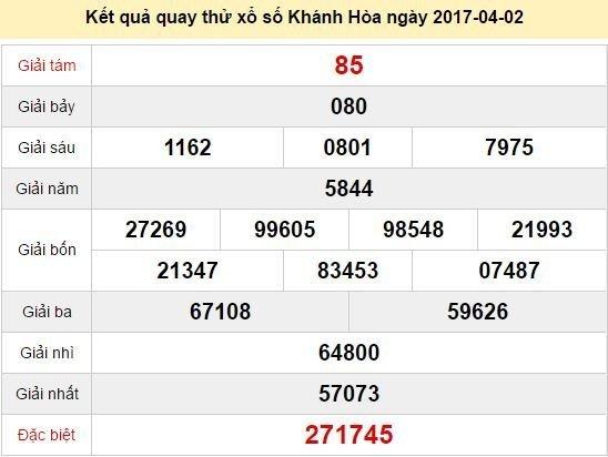 Quay thử KQ XSKH 2/4/2017