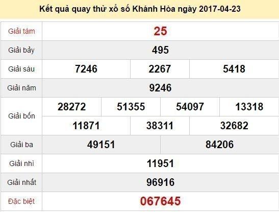 Quay thử KQ XSKH 23/4/2017