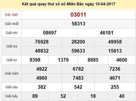 Quay thử KQ XSMB 10/4/2017