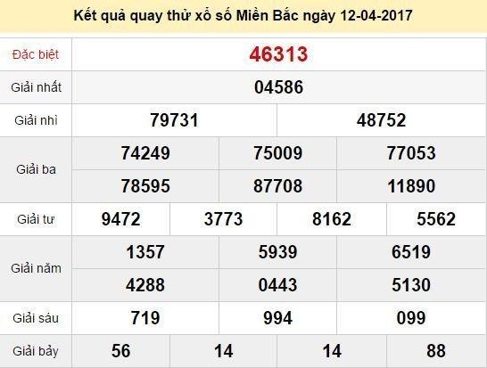 Quay thử KQ XSMB 12/4/2017