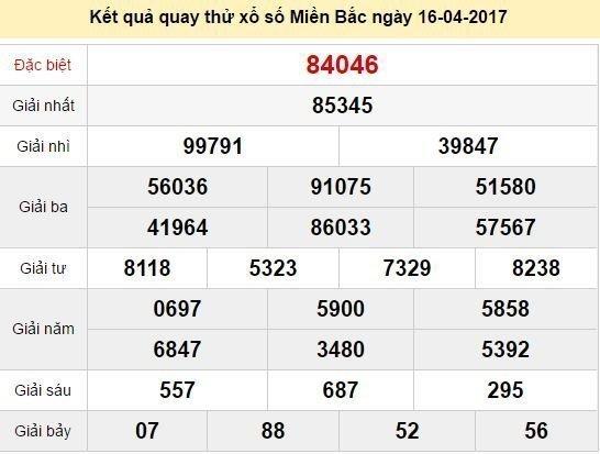 Quay thử KQ XSMB 16/4/2017