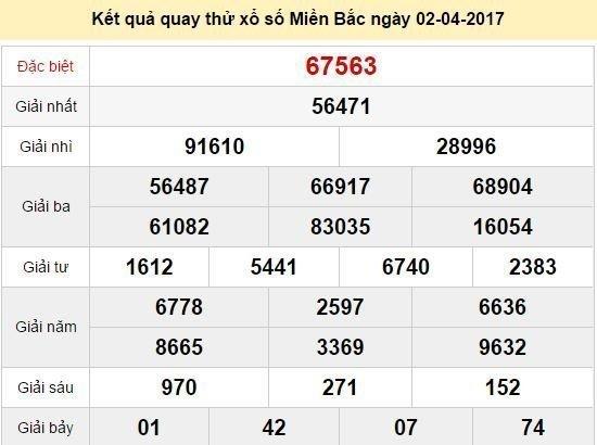 Quay thử KQ XSMB 2/4/2017