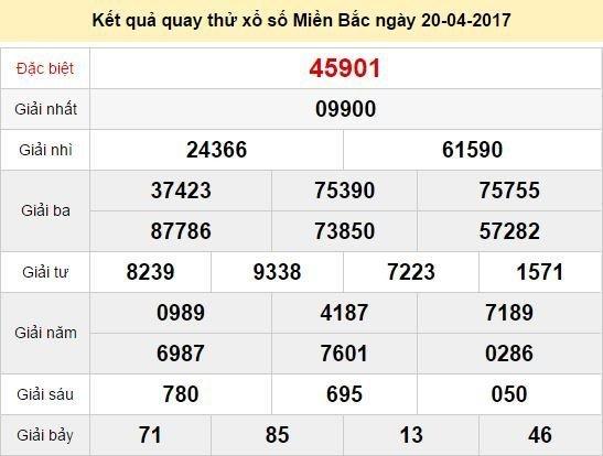 Quay thử KQ XSMB 20/4/2017