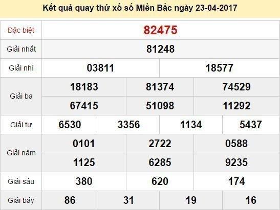 Quay thử KQ XSMB 23/4/2017