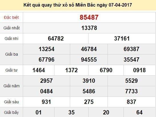 Quay thử KQ XSMB 7/4/2017