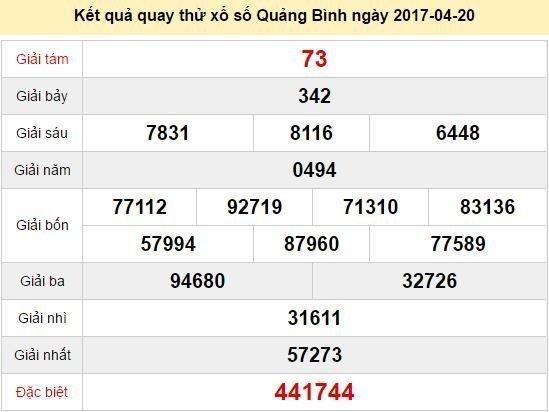 Quay thử KQ XSQB 20/4/2017