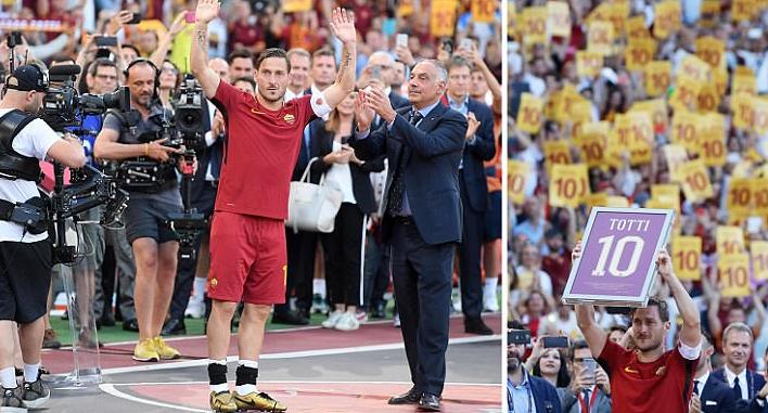 Sau trận đấu là màn chia tay đầy cảm xúc của Francesco Totti tại Olimpico