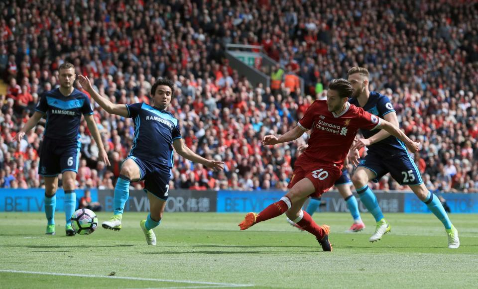Liverpool đã thắng Middlesbrough 3-0 ở vòng 38 Premier League