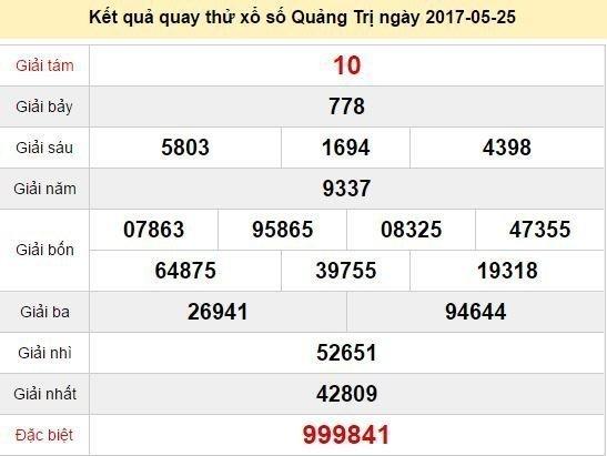 Quay thử KQ XSQT 25/5/2017