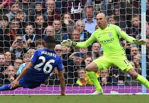 Riyad Mahrez đã đưa bóng vào lưới của Caballero, nhưng bàn thắng từ chấm 11m của cầu thủ này bị trọng tài từ chối