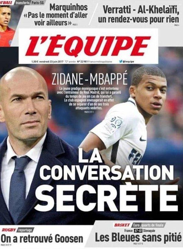 LEquipe dành gần hết trang nhất để đăng tải bài phân tích về khả năng Bale phải nhường chỗ cho Mbappe