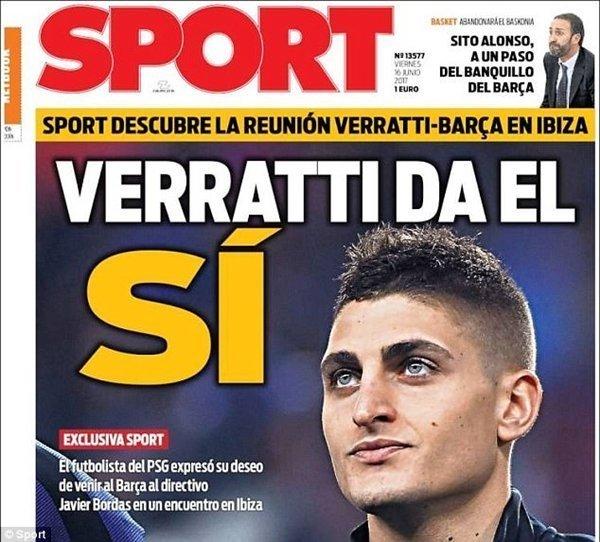 Tờ Sport nói về một hợp đồng sơ bộ giữa Verratti và Barcelona đã được thông qua