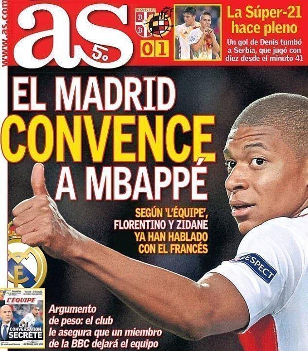 AS dành hẳn trang nhất để nói về chiến dịch tuyển mộ Kylian Mbappe của Real Madrid