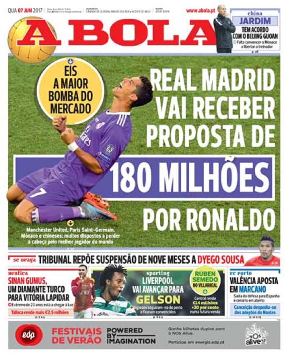 Trang bìa tờ A Bola số ra ngày hôm nay