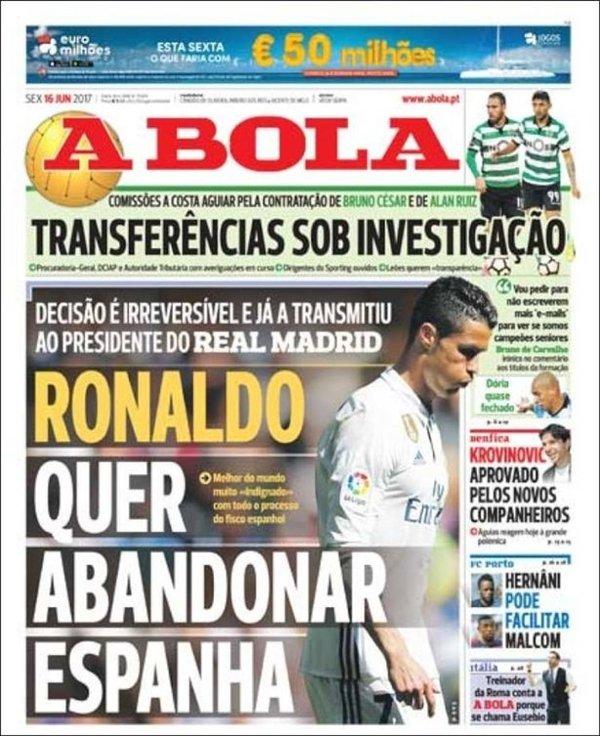 Tờ A Bola nói về viễn cảnh rời Real Madrid của Cristiano Ronaldo