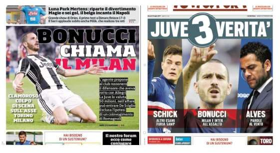 AC Milan và Inter Milan đều đang ngắm Bonucci