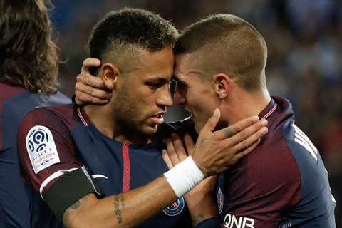 Neymar tiếp tục tỏa sáng ở PSG còn Verratti phải đi tắm sớm vì thẻ đỏ