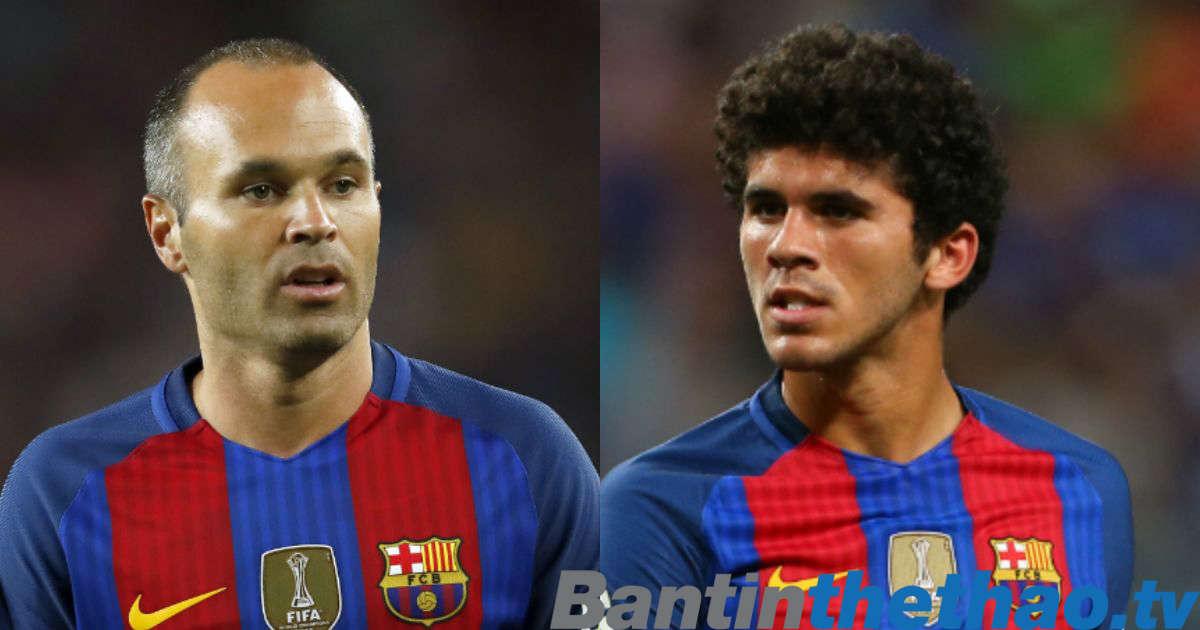 Iniesta (bên trái) là thần tượng của Carles Alena