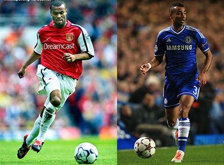 Cole thi đấu cho Arsenal (trái) và Cole thi đấu cho Chelsea (phải)
