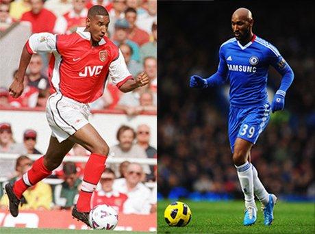 Anelka thành danh khá sớm trong màu áo Arsenal (trái) và gặt hái nhiều danh hiệu trong bốn năm gắn bó với Chelsea (phải)