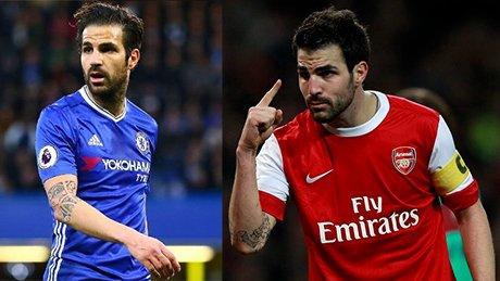 Febrgas đang thi đấu cho Chelsea (trái) và Fabregas thời còn thi đấu cho Arsenal (phải)