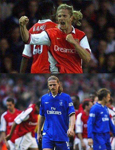 Petit thi đấu cho Arsenal (ảnh trên) và thi đấu cho Chelsea