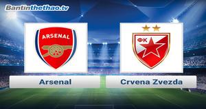 Link xem trực tiếp, link sopcast Arsenal vs Crvena Zvezda đêm nay 20/10/2017 UEFA Europa League