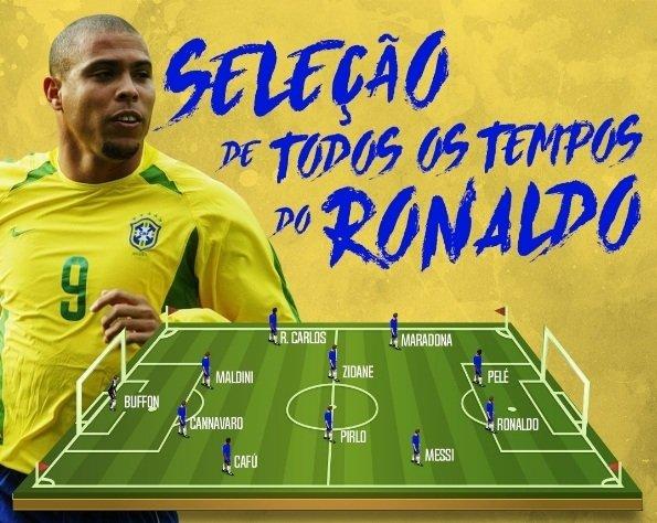 """Đội hình trong mơ của Ronaldo """"béo"""" Trên hàng công, Ronaldo de Lima sát cánh cùng một huyền thoại khác của bóng đá Brazil, """"Vua"""" Pele."""
