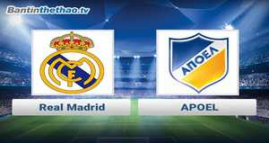 Link xem trực tiếp, link sopcast Real vs APOEL đêm nay 22/11/2017 Champions League