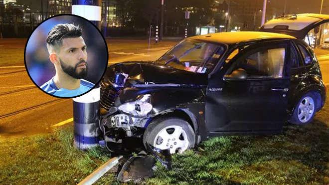 Chiếc xe taxi trở Aguero gặp tai nạn