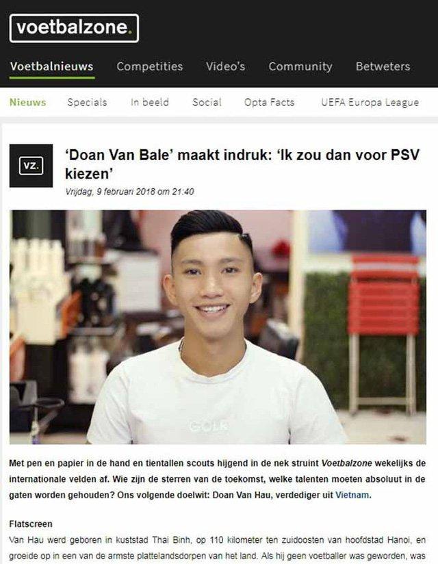 Hình ảnh Văn Hậu trên tờ Voetbalzone của Hà Lan