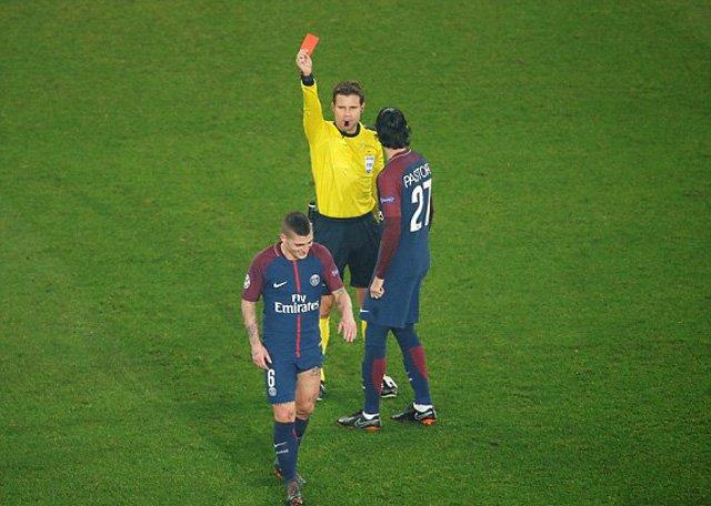 Verratti nhận thẻ đỏ rời sân