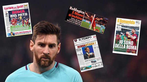 Báo chí thế giới ngợi ca chiến tích của AS Roma trước Barcelona