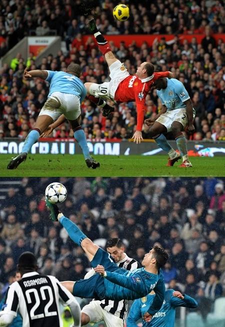 Hai pha ngả bàn đèn kinh điển của Rooney và Ronaldo.