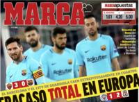 Báo chí Tây Ban Nha công kích Barca sau trận thua đậm AS Roma