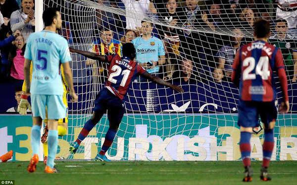 Bại trận trước Levante, Barcelona đứt mạch bất bại ở La Liga