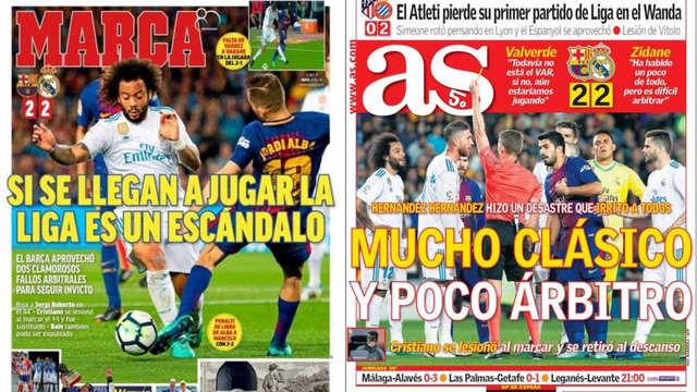 Hai tờ báo thân Real Madrid đều đề cập tới vấn đề trọng tài trên trang nhất