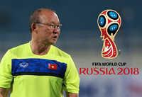 HLV Park Hang Seo sang Nga theo dõi một trận đấu tại World Cup 2018