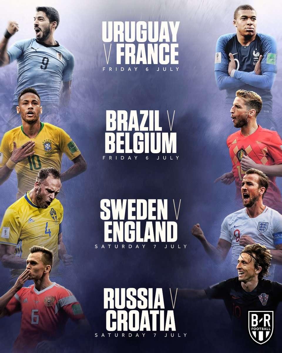 8 đội bóng tranh 4 chiếc vé bán kết World Cup 2018