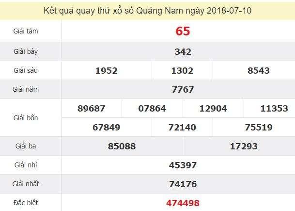 Quay thử xổ số Quảng Nam 10/7/2018