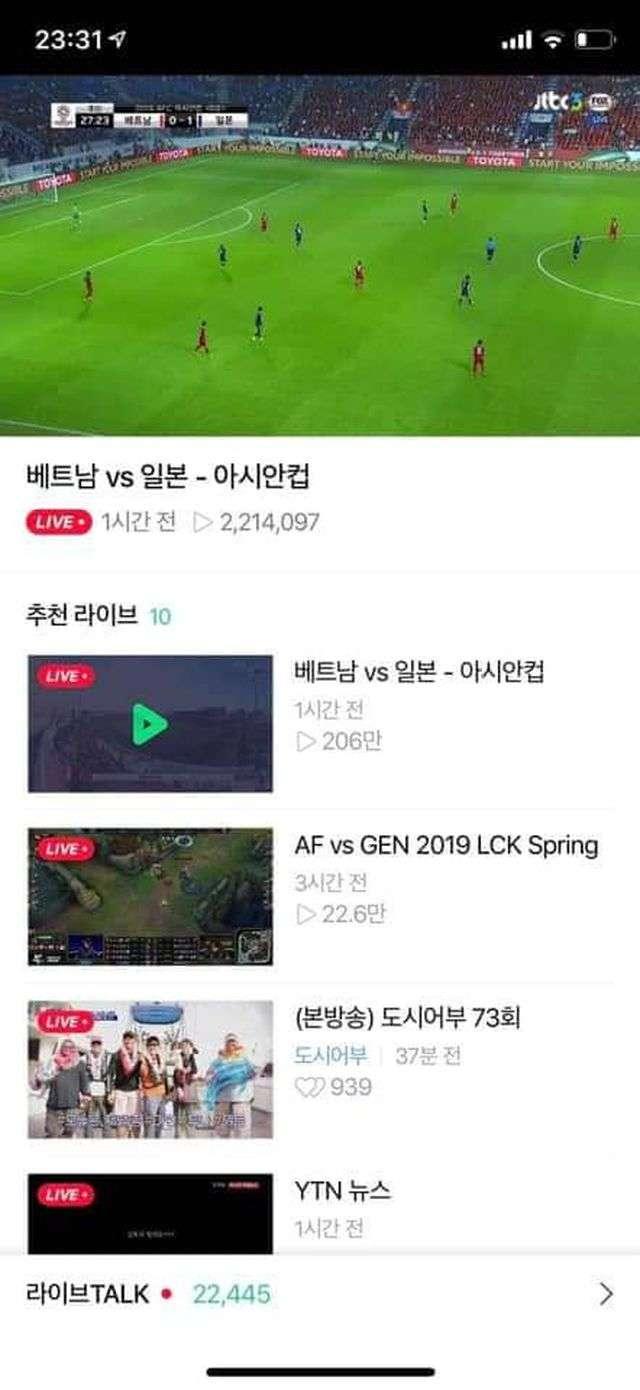 Lượt người xem online trận đấu giữa Nhật Bản và Việt Nam ở đài SBS đã đạt mức 2,2 triệu
