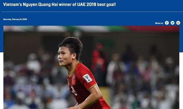 Tiền vệ Quang Hải nhận giải Bàn thắng đẹp nhất Asian Cup 2019
